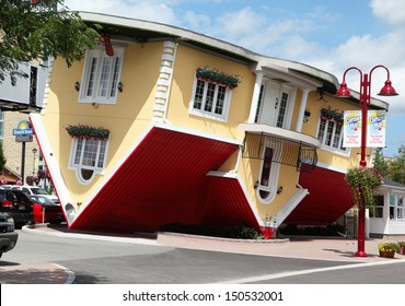 NIAGARA FALLS, Canada - AUG 4: Attraction Upside Down House on Clifton Hill in Niagara Falls, Canada, August 4, 2013