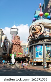 NIAGARA FALLS, CANADA- AUGUST 19, 2013:  Attraction on main street Clifton Hill, one of the major tourist promenades in Niagara Falls on 19 August in Niagara falls, Ontario, Canada