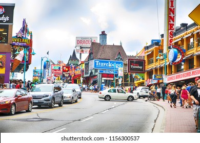 "NIAGARA FALLS, CANADA - AUGUST 6, 2018:  Clifton Hill, known as the "" Street of Fun"", one of the major tourist promenades in Niagara Falls, Ontario."