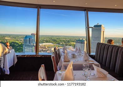 NIAGARA FALLS - CANADA, JUNE 15 2016: Interior of the famous rotating restaurant in Skylon tower with a wonderful 360 view of the Niagara Falls, Ontario, Canada.