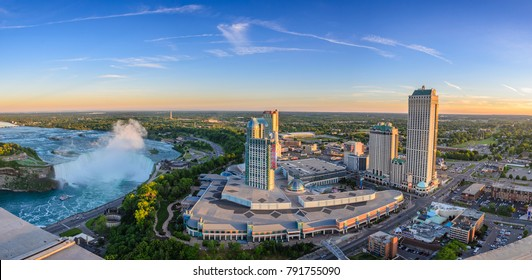 NIAGARA FALLS, CANADA - JUNE 15 2016: Aerial cityscape view of the famous Fallsview Casino Resort in Niagara Falls and Hilton hotel. View from Skylon tower, Ontario, Canada on June 15 2016.
