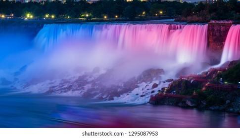 Niagara falls, Canada - June 27 2018: Colorful light shedding on the Niagara Falls