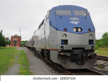 NIAGARA FALLS, CANADA - JUNE 29: Passenger train Toronto - New York stands at Niagara Falls station on June 29, 2011 in Niagara Falls, Canada.