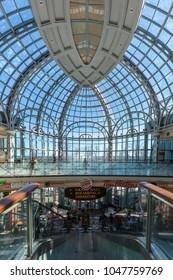 Niagara Falls, Canada - March 04, 2018: Interior view of Galleria Shops & Dining at the Niagara Fallsview Casino Resort in Niagara Falls.