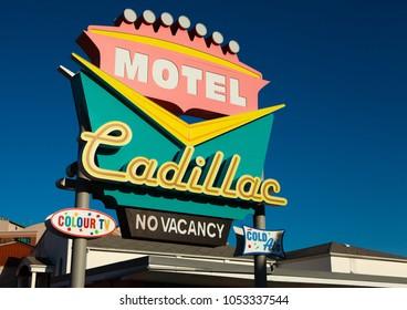 NIAGARA FALLS,  CANADA - MARCH 23, 2018: Cadillac motel sign showing no vacancy