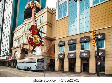 NIAGARA FALLS, CANADA - May 05, 2019: Hard Rock Cafe restaurant in Niagara Falls, Ontario, Canada. Hard Rock Cafe is a chain of theme restaurants.