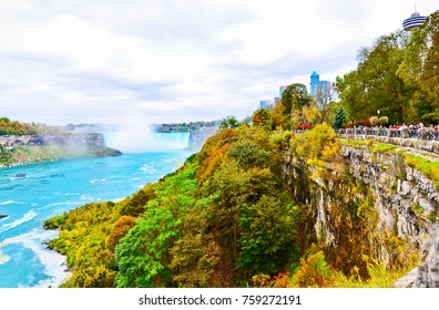 Niagara Falls, Canada - October 13, 2013: View of Niagara Falls from Canadian side in autumn on October 13, 2013.