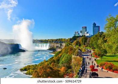 Niagara Falls, Canada - October 14 : View of Niagara Falls in a sunny day in autumn in Canada on October 14, 2013.