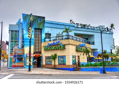Niagara Falls, Canada - October 2, 2019: Jimmy Buffet's Margaritaville restaurant and bar on Fallsview Blvd is   one of a popular chain of casual dining restaurants owned by singer Jimmy Buffet.