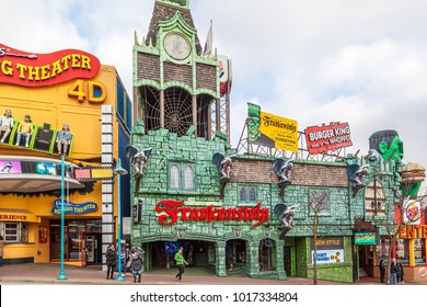 "NIAGARA FALLS, CANADA - OCTOBER 21, 2017: View of Clifton Hill, known as the "" Street of Fun"", one of the major tourist promenades in Niagara Falls, Ontario."