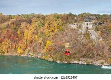 NIAGARA FALLS, CANADA - OCTOBER 24:  A view of the Niagara Cable Car above the Niagara Whirlpool, Canada on October 24, 2017.