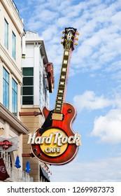 NIAGARA FALLS, CANADA - OCTOBER 24:  A guitar above the Hard Rock Cafe beside the Niagara Falls, Canada on October 24, 2017.  Hard Rock Cafe is a chain of rock music themed restaurants.