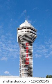 NIAGARA FALLS, CANADA - OCTOBER 24:  Casino Tower beside the Niagara Falls, Canada is pictured on October 24, 2017.  The tower was completed in 1964 and Casino Niagara opened in the building in 1996.