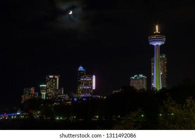 NIAGARA FALLS, CANADA - OCTOBER 25:  A night time view across the Niagara Falls skyline in Canada on October 25, 2017.