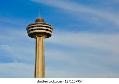 Niagara Falls, Canada - September 27, 2018: Skylon Tower revolving restaurant in blue skies.