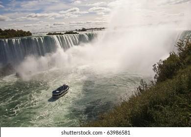 Niagara falls from Canada to the U.S.