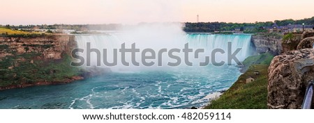 Niagara Falls, Canadian side, Horseshoe falls as the sunset fast approaches on a late summer evening.