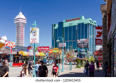 "Niagara Falls, Canda - June 15, 2018: View of Clifton Hill, known as the "" Street of Fun"", one of the major tourist promenades in Niagara Falls, Ontario."