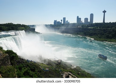 Niagara Falls and city beside
