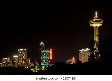 Niagara Falls City Skyline at Night on the Canadian Side
