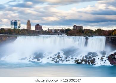 Niagara Falls.  A close up long exposure view of the American Falls, a part of the Niagara Falls.  The falls straddle the border between America and Canada.
