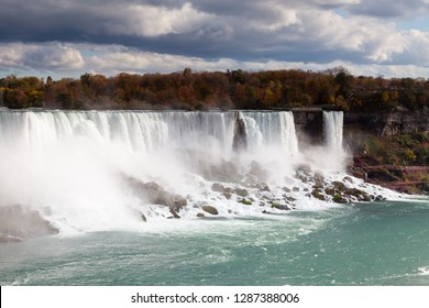 Niagara Falls.  A close up view of the American Falls, a part of the Niagara Falls.  The falls straddle the border between America and Canada.