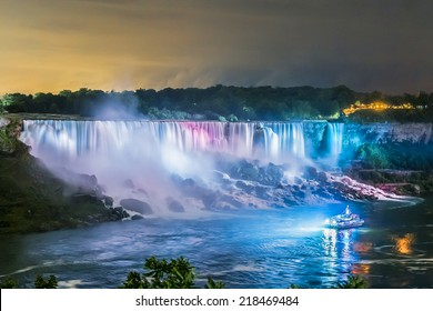Niagara Falls closeup panorama by night. Ontario, Canada.