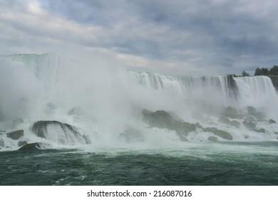 Niagara Falls closeup panorama in the day.
