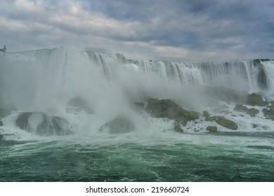 Niagara Falls closeup panorama in the day. Ontario, Canada.