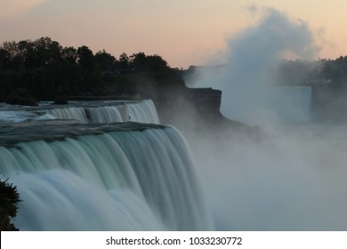 niagara falls in evening, with motion blur