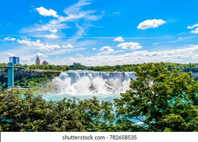 Niagara falls and facing USA