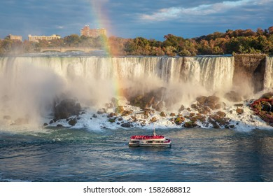 Niagara Falls is a group of three waterfalls at the southern end of Niagara Gorge, between the Canadian province of Ontario and the US state of New York