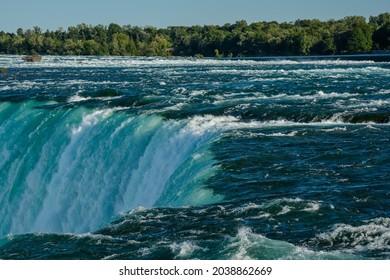 Niagara Falls, horseshoe and Rainbow. beautiful multicolored rainbow on the background of a waterfall