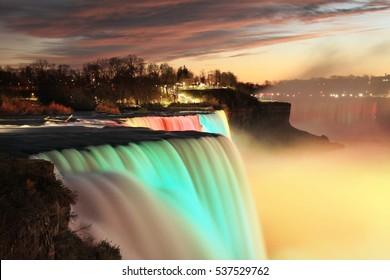 Niagara Falls illuminated, Canada and USA, long exposure