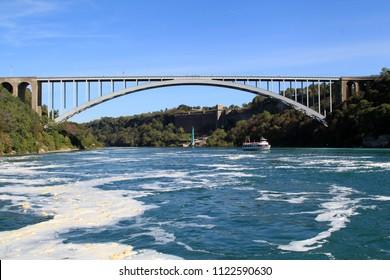 The Niagara Falls International Rainbow Bridge, view from Niagara Falls Cruise
