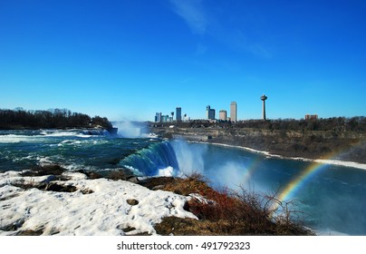 Niagara Falls Landscape and Rainbow, Atop American Falls from observation deck at Niagara Falls State Park in New York