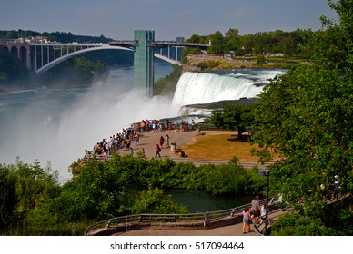 Niagara Falls: Luna Island, American Falls, and Rainbow Bridge.
