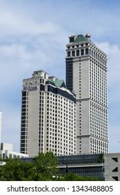 NIAGARA FALLS - MAY 29, 2016: Hilton hotel building seen on Canadian side in Niagara Falls, Canada.