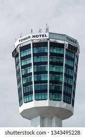NIAGARA FALLS - MAY 29, 2016:  Tower hotel 160m tall building seen on Canadian side in Niagara Falls, Canada.