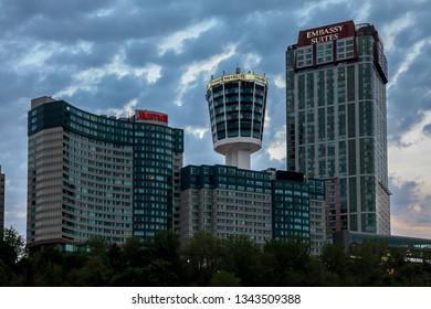 NIAGARA FALLS - MAY 29, 2016: Niagara Falls evening with Marriott, Tower hotel and Embassy Suites  hotels seen in Niagara Falls.
