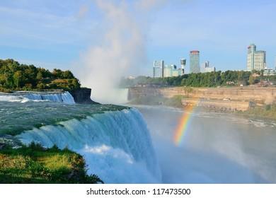 Niagara Falls in the morning with rainbow