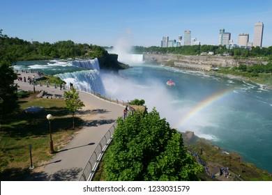 NIAGARA FALLS, New York - JUNE 12,2018: People Visitors on Niagara Falls is the waterfalls  New York ,USA.
