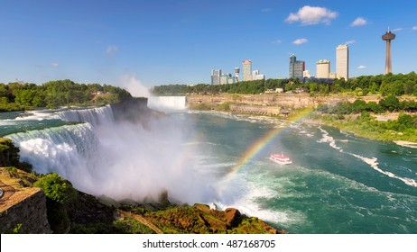 NIAGARA FALLS, NEW YORK - JUNE 29, 2016: Niagara Falls with rainbow at summer morning on June 29, 2016 in New York, USA. Landscape View of Canada and tourist hotels.