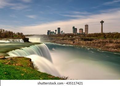 Niagara Falls, New York - May 7, 2016: The American Falls at Niagara Falls, New York.