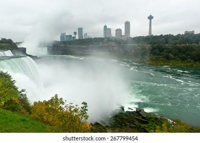NIAGARA FALLS, NEW YORK - OCTOBER 5, 2013: Niagara Falls from New York, USA Landscape View