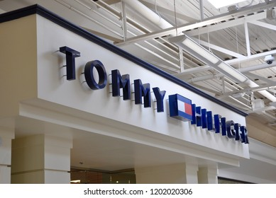 Niagara Falls, New York, USA - September 27, 2018: Sign of  Tommy Hilfiger in front of the store.