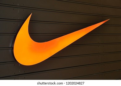 Niagara Falls, New York, USA - September 27, 2018: Logo of Nike  in front of the store.