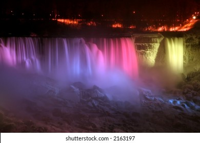 Niagara Falls at Night - American and Veil Falls