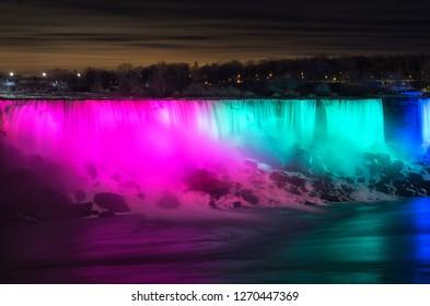 Niagara Falls at night during a winter evening in Ontario, Canada
