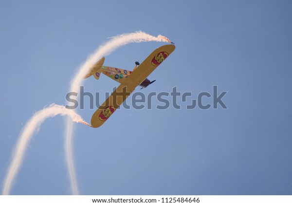 Niagara Falls NY, USA, June 10 2018- Kent Pietsch performing an aerobatics demonstration at Thunder of Niagara Air Show